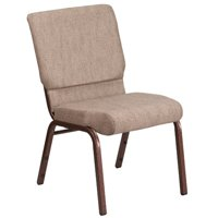 Flash Furniture HERCULES Series 18.5''W Beige Fabric Stacking Church Chair with 4.25'' Thick Seat - Copper Vein Frame
