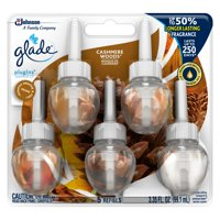 Glade PlugIns Scented Oil Refill Cashmere Woods, Essential Oil Infused Wall Plug In, Up to 50 Days of Continuous Fragrance, 3.35 FL OZ, Pack of 5