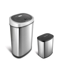 Nine Stars Motion Sensor Touchless 13.2 Gal / 2.1 Gal Trash Can Combo, Stainless Steel