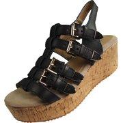 e039ac14134b Very Volatile Womens Sunkissed Wedge Sandal BLACK   7 B(M) US