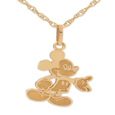Disney 10kt Yellow Gold Full Body Mickey Mouse Pendant Necklace with Gold-Filled Chain Disney Couture Set Necklace