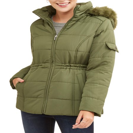 Women's Quilted Puffer Jacket with Faux Fur-Trim (Fur Hooded Bomber)