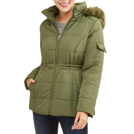 Women's Quilted Puffer Jacket with Faux Fur-Trim