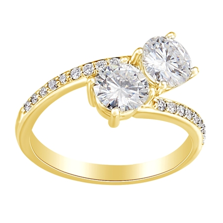 Simulated White Moissanite & Natural Diamondpass Engagement Ring 14K Solid Yellow Gold, Ring Size-4