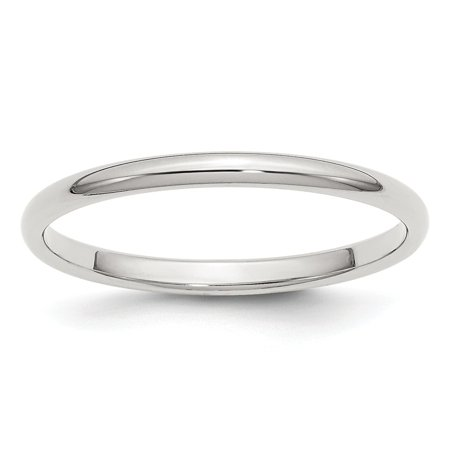 Sterling Silver 2mm Half-Round Band Ring - Ring Size: 4 to 13.5 2 Mm Thumb Ring
