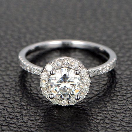Limited Time Sale Half carat Antique design Halo Round Diamond Engagement Ring in 10k White Gold for Women Antique White Gold Ring