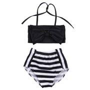 fdbf406b01207 2Pcs Baby Kids Girl Bowknot Bikini Set Swimwear Strappy Swimming Swimsuit  Bathing Suit 2-3