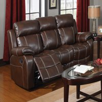 "Coaster Company 87"" Myleene Leather Reclining Sofa, Chestnut"