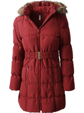 Womens Quilted Puffer Coat with Belt Lightweight Detachable Faux Fur Hoodie Jacket Winter Outerwear