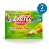 Children's Zyrtec 24 Hr Allergy Dissolve Tablets, Citrus Flavor, 12 ct