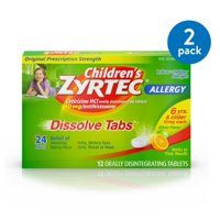 (2 Pack) Children's Zyrtec 24 Hr Allergy Dissolve Tablets, Citrus Flavor, 12 ct