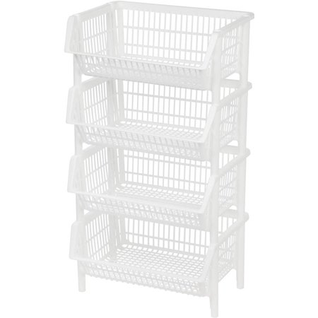 Stacking Basket (IRIS Jumbo Plastic Stacking Basket, White Set of 4 )