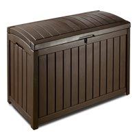 Keter Glenwood Outdoor Plastic Deck Storage Box 101 Gal, Brown