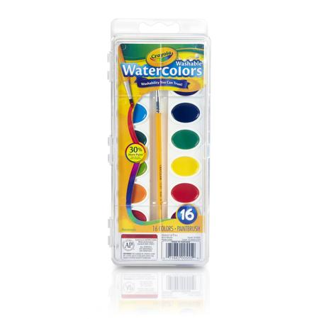Crayola Semi-Moist Washable Watercolor Paint Set, 16