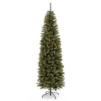 Best Choice Products 7.5ft Premium Hinged Fir Pencil Artificial Christmas Tree w/ Metal Foldable Stand, Easy Assembly - Green