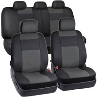 BDK 2-Tone PU Leather Car Seat Covers Split Bench Side Airbag Safe with 5 Headrest