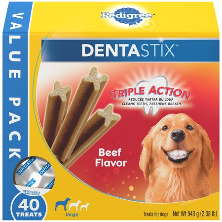 Pedigree Dentastix Large Dental Dog Treats Beef Flavor, 2.08 lb. Value Pack (40 Treats) - Natural Balance Beef Treats