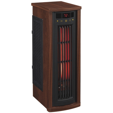 Duraflame Portable Electric Infrared Quartz Oscillating Tower Heater, Cherry (Electric Wood Heater)