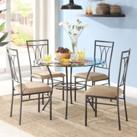 """Mainstays 5-Piece Glass and Metal Dining Set, 42"""" Round Tabletop"""