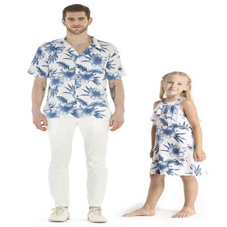 12 Days Of Christmas Hawaiian Style (Matching Father Daughter Hawaiian Luau Cruise Outfit Shirt Dress Day Dream Bloom Men XL Girl)