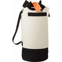 Honey Can Do Large Laundry Duffle Bag with Bottom Storage, White/Black