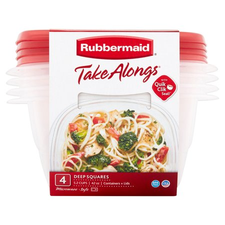 Rubbermaid TakeAlongs Food Storage Container, Deep Squares, 5.2 Cup, 4 Pack, Tint Chili