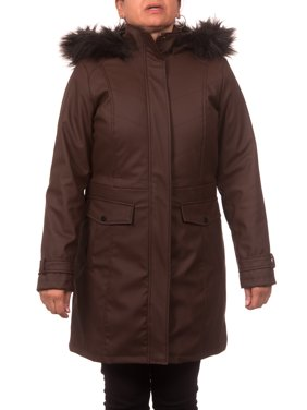 Women's Plus Size Faux Leather Anorak Coat with Detachable Fake Fur Trimmed Hood