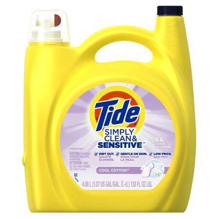 Tide Simply Clean & Sensitive HE Liquid Laundry Detergent, Cool Cotton Scent, 66 Loads 138 Oz