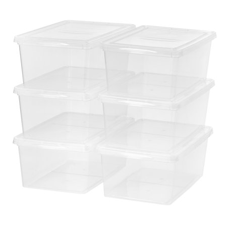 Mainstays 17 Quart/4.25 Gallon Sweater Box Storage, Clear, 6 Pack](Clear Storage Bins)