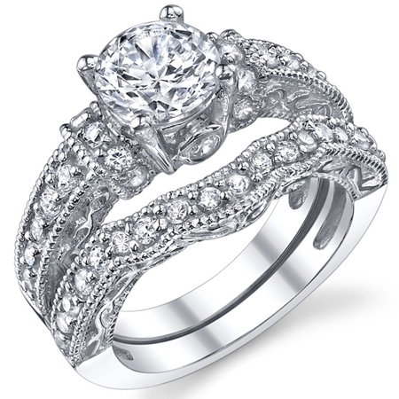 1.25 Carat Solid Sterling Silver Wedding Engagement Ring Set, Bridal Ring, with Cubic Zirconia CZ Sizes 4