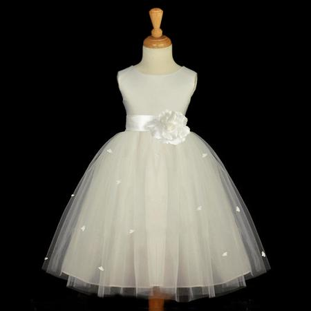 Ekidsbridal Ivory Flower Girl Dress Tulle Rosebud Rose flower Weddings Summer Easter Special Occasions Pageant Toddler Bridesmaid Recital Communion Holiday Bridal Baptism 815S size - Lydia Wedding Dress