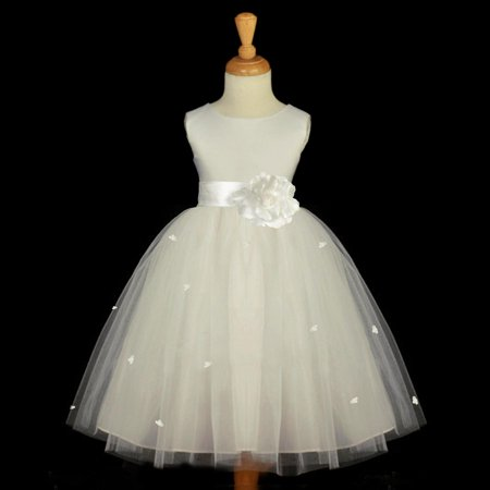 Ekidsbridal Ivory Flower Girl Dress Tulle Rosebud Rose flower Weddings Summer Easter Special Occasions Pageant Toddler Bridesmaid Recital Communion Holiday Bridal Baptism 815S size - Ivory Dresses For Toddlers
