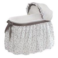 Badger Basket Wishes Oval Bassinet - Full Length Skirt - Gray/Leaf