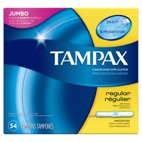 Tampax Cardboard Regular Tampons, Unscented, 54 count