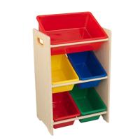 KidKraft Wooden Children's Toy Storage Unit with Five Plastic Bins - Primary & Natural