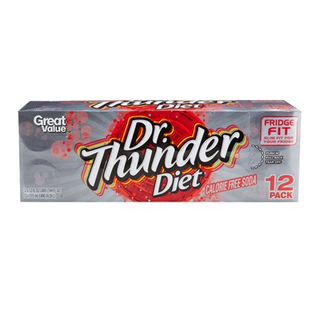 Great Value Dr. Thunder Diet Soda, 12 Fl. Oz., 12 (Low Fat Soda)
