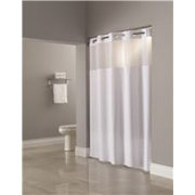 HOOKLESS MADISON WHITE SHOWER CURTAIN WITH SNAP LINER 71 IN X 77