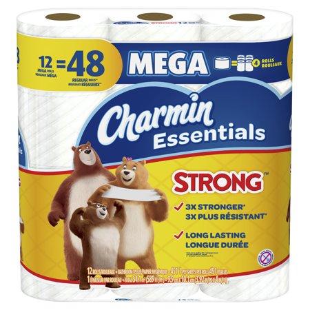 Charmin Essentials Strong Toilet Paper 12 Mega Rolls, 451 ...