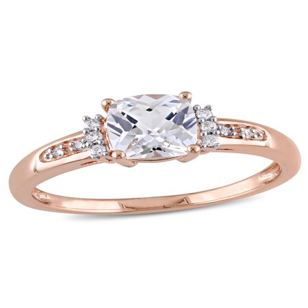 1-1/4 Carat T.G.W. Cushion-Cut Created White Sapphire and Diamond-Accent 10kt Rose Gold Cluster Engagement Ring (Sapphire Cluster)
