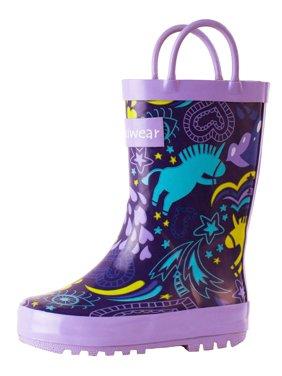 Oakiwear Kids Rain Boots For Boys Girls Toddlers Children, Purple Unicorn