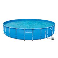 """Summer Waves 24' x 52"""" Metal Frame Above Ground Swimming Pool with Filter Pump and Deluxe Accessory Set"""