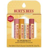 Burt's Bees 100% Natural Moisturizing Lip Balm, Superfruit - Pink Grapefruit, Mango, Coconut & Pear, Pomegranate - 4 Tubes