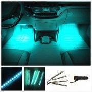 CyberTech Car LED Strip Light, 4pcs 72 LED DC 12V Multicolor Music Car Interior Light