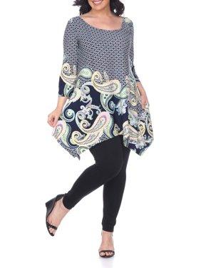 Women's Plus Size Three Quarter Sleeve Paisley Tunic Top With Print