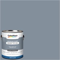 ColorPlace Pre Mixed Ready To Use, Interior Paint, Blue Grey Sky, Semi-Gloss Finish, 1 Gallon