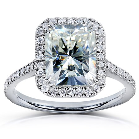 Radiant-cut Moissanite & Diamond Engagement Ring 3 Carat (ctw) in Platinum