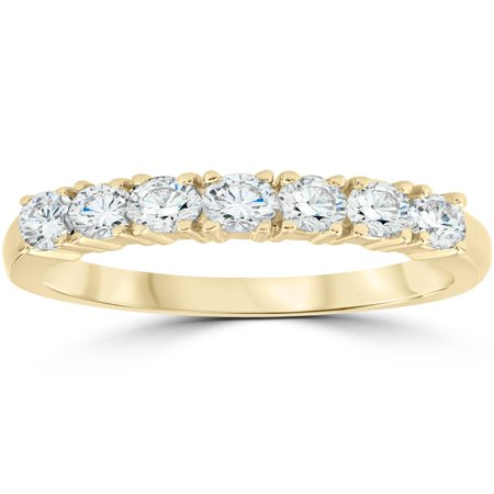 1ct Diamond Wedding Ring Anniversary 14k Yellow Gold 7-Stone Womens (Womens Diamond Anniversary Band)