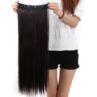 """FLORATA Trendy 30""""Long Straight 3/4 Full Head Clip in Synthetic Hair Extensions One Piece 5 Clips 130g 15 Colors"""