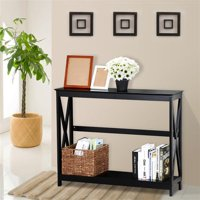 Yaheetech 2 Tier X Design Hallway Large Console Table Entryway Accent Tables with Storage Shelf Living Room Entrance Furniture ( Black )