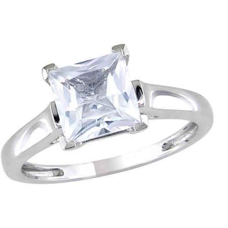 2 Carat T.G.W. Square-Cut Created White Sapphire 10kt White Gold Solitaire Engagement Ring